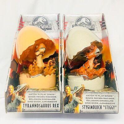 NEW Jurassic World Hatch 'N Play Dinosaur Egg T-Rex & Stiggy 2 Figure Lot Mattel for sale  Kenosha