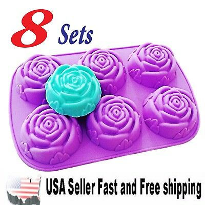 8 Piece Rose Shaped DIY Handmade Soap Mold Silicone Mold Soap Making ~ US Seller
