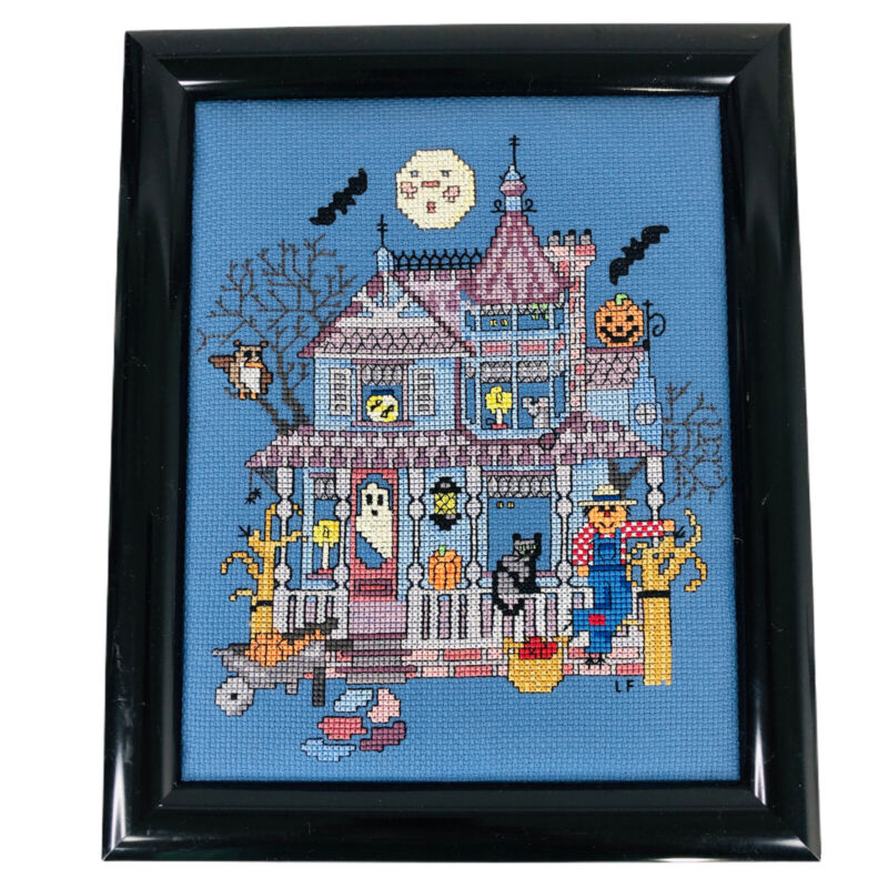 """Halloween Completed 9.5"""" x 7"""" Cross Stitch Haunted House Picture Framed Finished"""