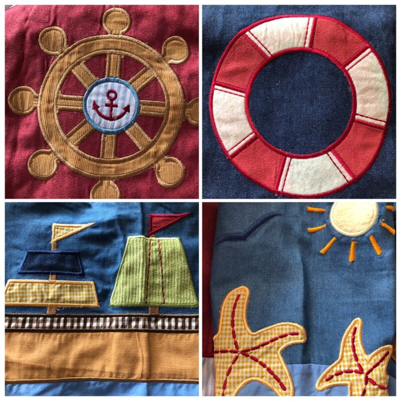 GEENNY Baby Nautical Nursery Valance Bed Skirt Accessories Blue Denim Lot 5 New