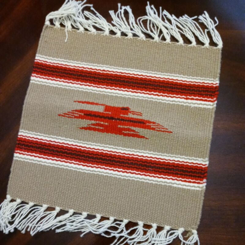 """Handcrafted Southwestern Tan Chimayo Weaving Textile Placemat 10""""x10"""" New Mexico"""