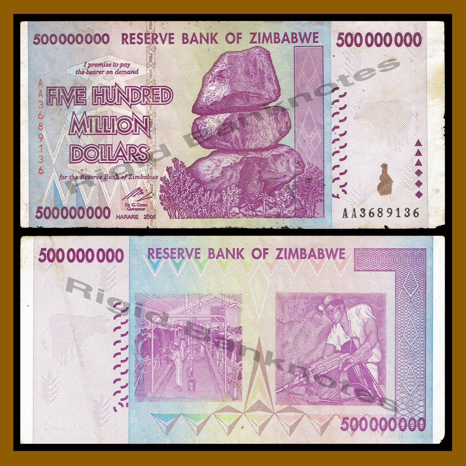 Zimbabwe 500 Million Dollars x 10 Pcs AA/AB 2008, 50&100 Trillion Series Cir.