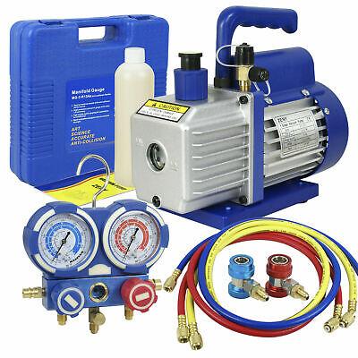 Air Vacuum Pump Hvac 14 Rotary Vane Refrigerant Ac Manifold Gauge Set R134a Kit