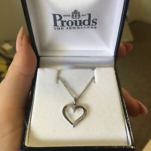 Prouds White Gold Heart Pendant Port Hedland Port Hedland Area Preview
