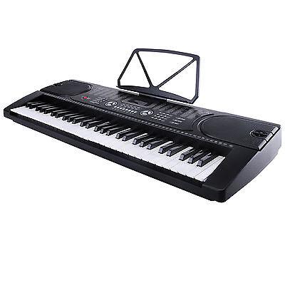 Black 61 Key Music Electronic Keyboard Electric Digital Piano Organ w/Microphone
