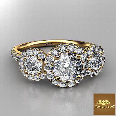 Halo 3 Stone Micro Pave Round Diamond  Engagement Ring GIA D VS2 Clarity 1.50Ct 5