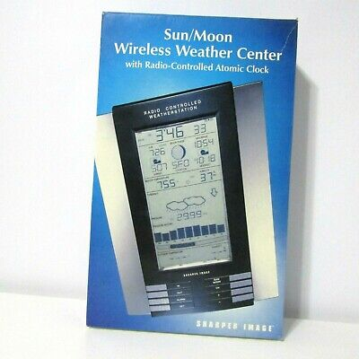 Sharper Image Sun Moon Wireless Weather Center Radio Controlled Atomic Clock