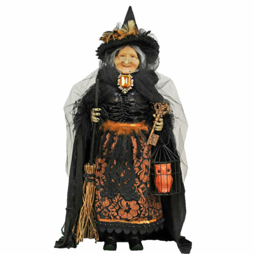 "Karen Didion 26"" Hilda w/ Owl Black Orange Halloween Classic Witch Doll Decor"