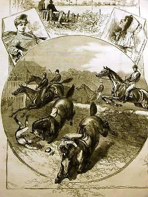 ROCKAWAY STEEPLECHASE HORSE RACE 1884 Antique Art Print Matted