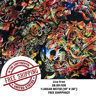 Hydrographic Water Transfer Hydro Dipping Film Live Free 1m 19 X 38