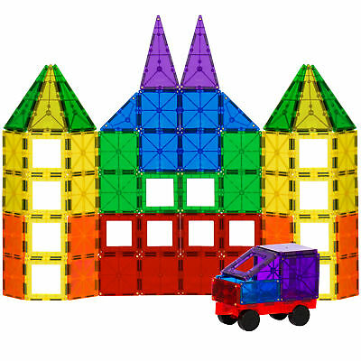 BCP 100-Piece Clear Multi Colors Magnetic Tiles Building Set Car & Carrying Bag