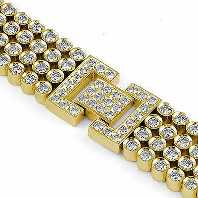 15.00 Ct Round Diamond Heavy Men's F-G VS1 Bracelet 14k Gold Yellow 8.5 inch