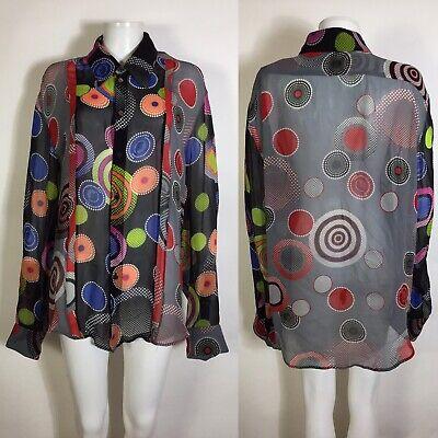 Rare Vtg Gianni Versace Sheer Circle Dot Print Black Silk Shirt 58 3XL