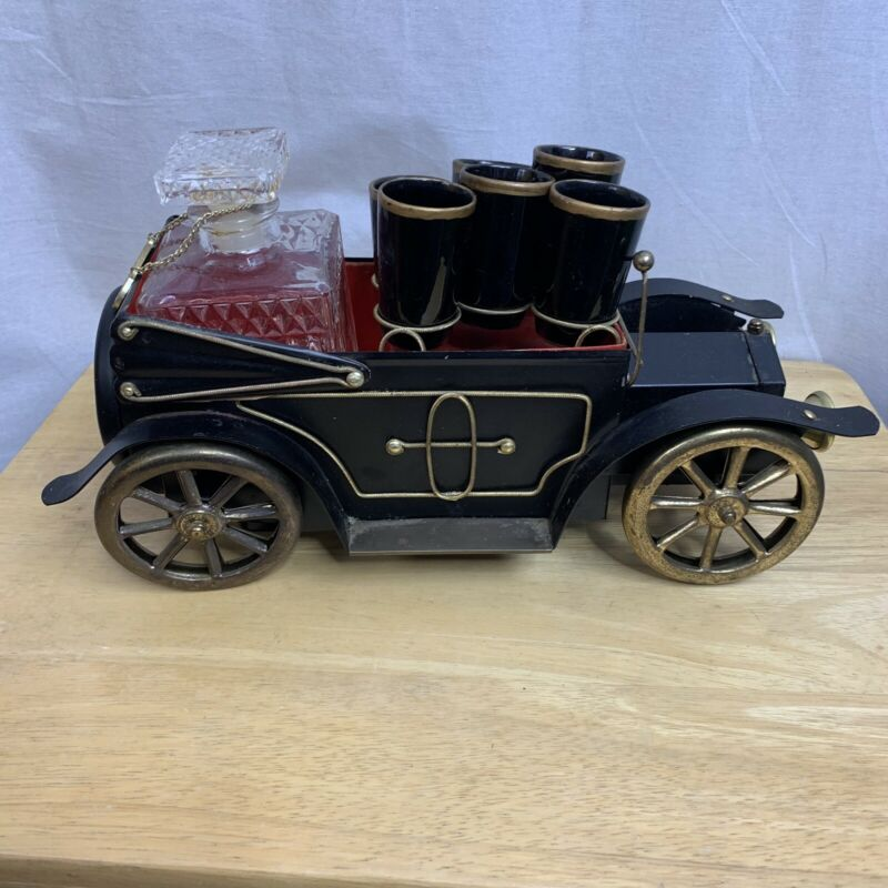 "Vintage Antique Musical Metal 14"" Car Caddy Scotch Decanter & 6 Shot Glass Set"