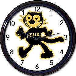 Felix the cat wall clock cartoon animal black cat kitten feline retro New 10