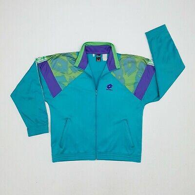 Vintage 90s Lotto Tracksuit Jacket Large Blue/Purple/Green Full Zip Logo Tape