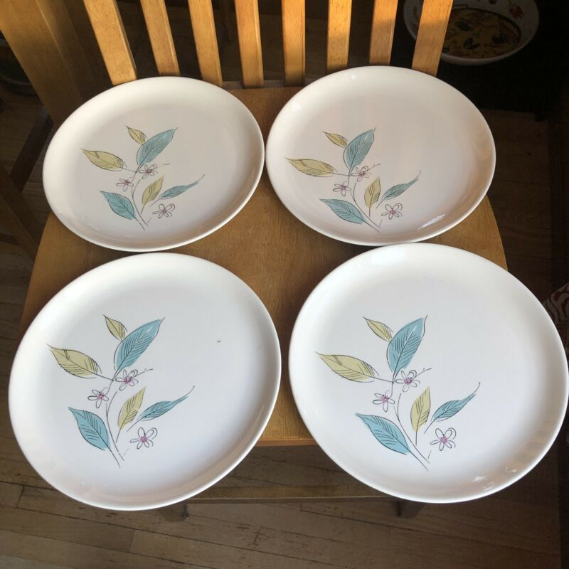 Salem Biscayne Ovenproof Dinner Plates Blue Green Floral Set of 4 Vintage MCM