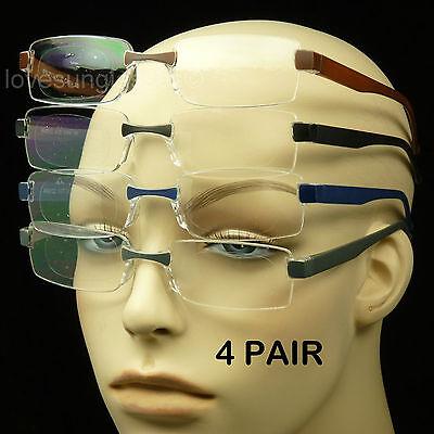 4 PAIR LOT READING GLASSES LENS MEN WOMEN STRENGTH RIMLESS POWER PACK