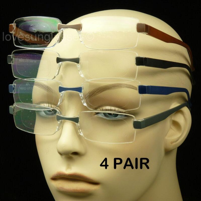 Reading glasses men women 4 pair lot lens strength rimless power pack new