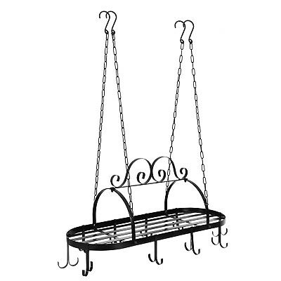 Pot and Pan Rack for Ceiling with 10 Hooks Kitchenware Organizer Hanger Storage