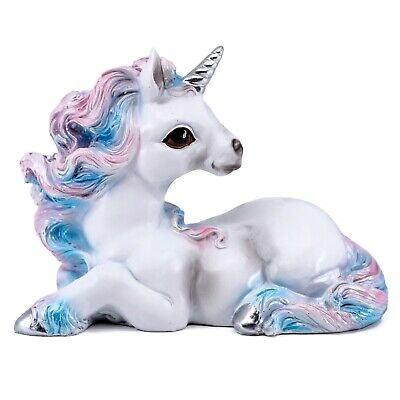 """Blue and Pink Curly Mane Laying Unicorn Figurine Statue 5"""" Long Resin New!"""