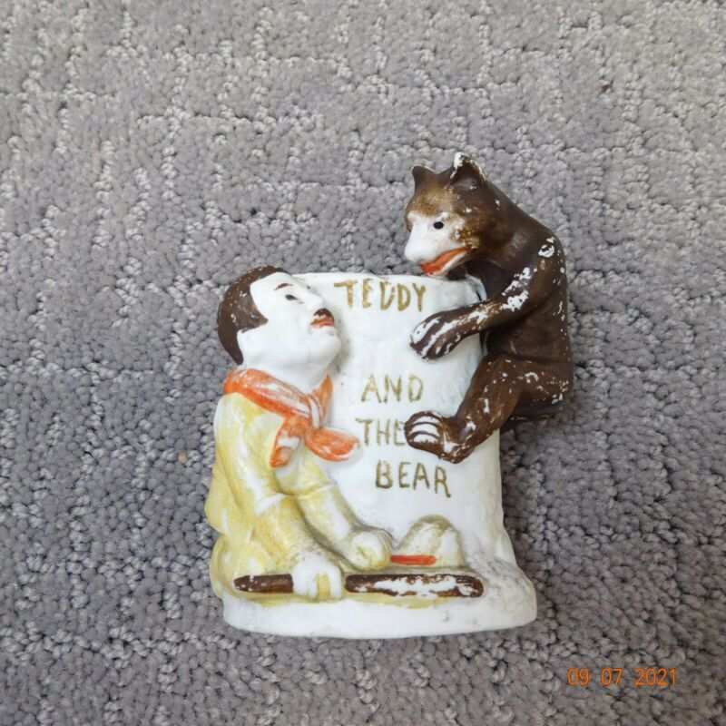 VINTAGE TEDDY ROOSEVELT AND THE BEAR MATCH OR TOOTHPICK HOLDER~WEELING W VA
