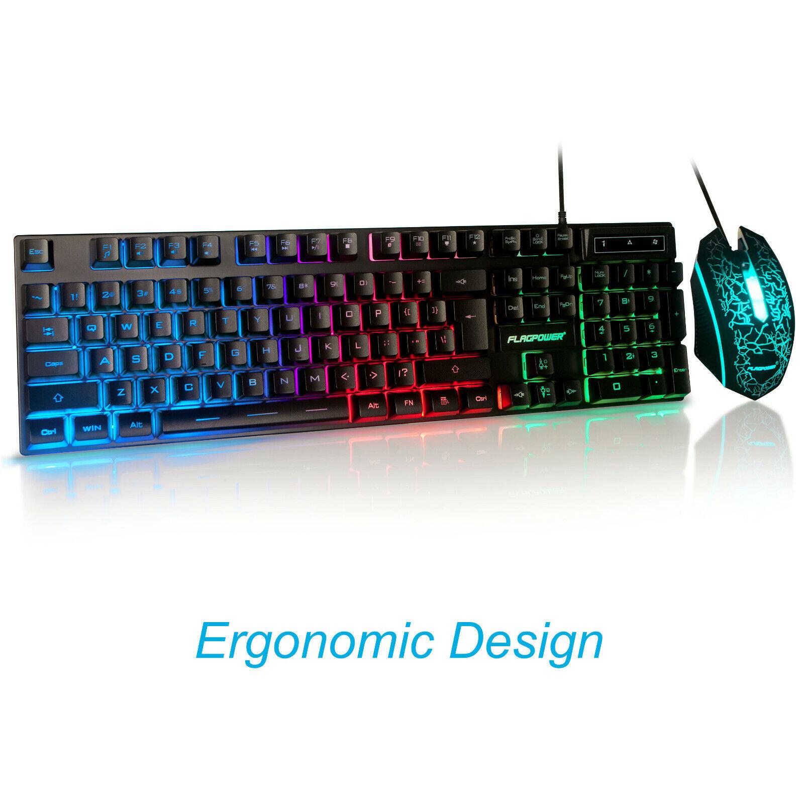 RGB Backlit Keyboard and Mouse Kit 3 Color Rainbow LED Illum