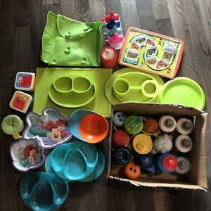 Assorted kids plates and cups