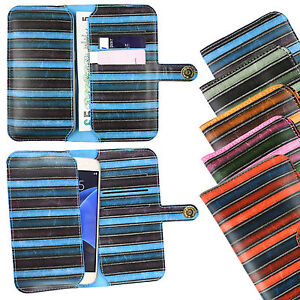 Vintage-Rayas-Funda-de-piel-sintetica-funda-soporte-para-LG-Telefono
