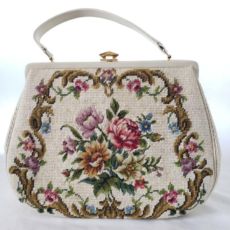 Vintage Floral Needlepoint Tapestry Carpetbag Clasp Handbag Ivory Trim with Feet