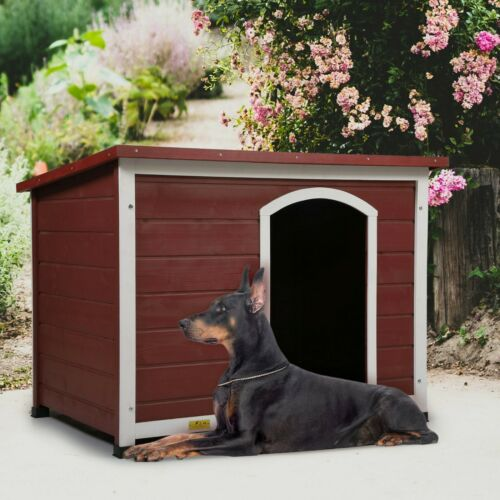COZIWOW Wooden Dog house For Large Dogs Weather Proof Dog Kennel W/ Flip-up Roof