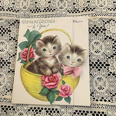 Vintage Greeting Card Birthday Rust Craft Cute Kittens Cats In Basket