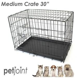 """Medium Pet Dog / Cat Puppy Kennel Metal Cage Crate Pen Foldable 30"""""""