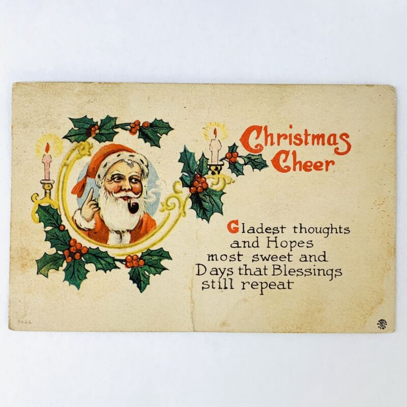 Antique Christmas Post Card Santa with Pipe Bergman Posted Dec 16 1913 Ky