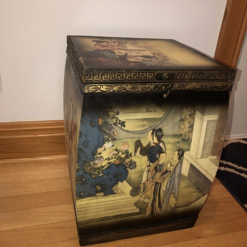 Large Vintage Chinese chinoiserie Oriental Hinged Storage Wood Box Stand Table