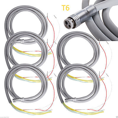 5 Dental 6-hole Silicone Hose Tube For Led Fiber Optic Handpiece Turbine