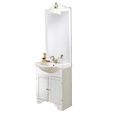 Mobile bagno classico legno decape' bianco lavabo cm 65 applique arredo shabby