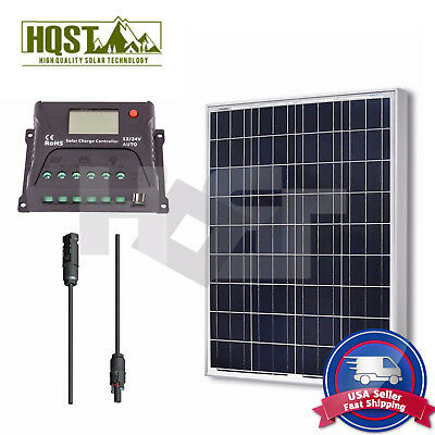 100W Solar Panel 10A Controller Bundle Kit 12V Off Grid System RV Home Motorhome