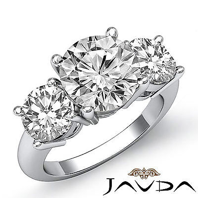 Classic 3 Stone Prong Setting Round Cut Diamond Engagement Ring GIA F SI1 2.5Ct