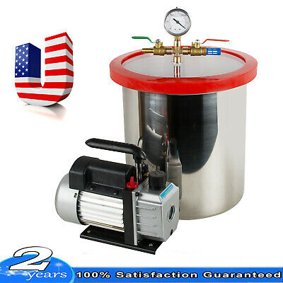 Usa Stock 5 Gallon Vacuum Degassing Chamber Silicone Kit With 3 Cfm Pump Best