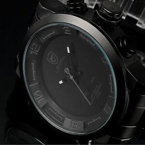 SHARK LED Day Date Alarm Black Stainless Steel Men's Army Quartz Sport Watch C