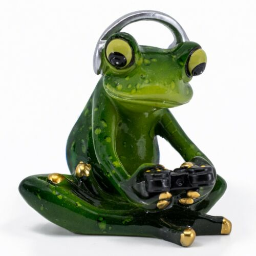 "Frog Gaming With Controller and Headphones Figurine Statue 3.25""H Resin New"