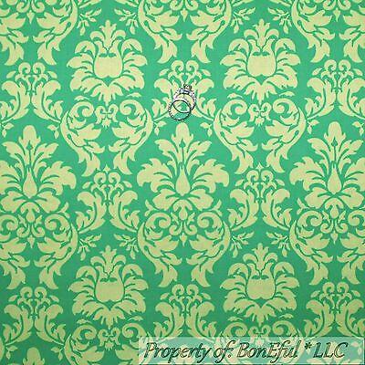 Damask Flower Girl Dress (BonEful Fabric FQ Cotton Quilt Green Lime Tone Flower Girl VTG Damask John)