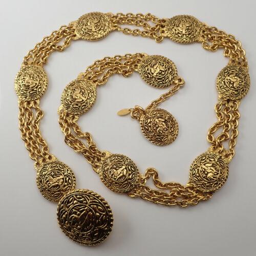 Authenticated Chanel France Horse Motif Triple Chain Camellia Medallion Belt