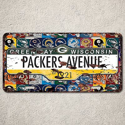 LP0065 Green Bay Packers Auto Car License Plate Sign Rust Vintage Home Decor ()