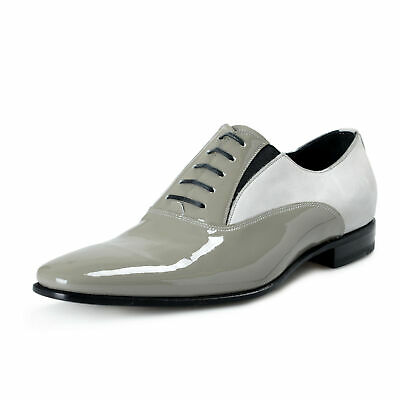 Versace Men's Gray Suede Patent Leather Oxfords Shoes US 9 IT 42