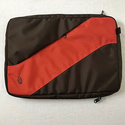"Timbuk2 Ballistic Nylon Laptop Case 15""x10-3/4"" Orange/Brown NWOT"