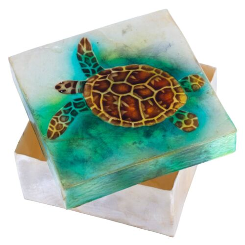 """Hand Painted Sea Turtle Capiz Oyster Shell Jewelry Trinket Box 4"""" New!"""