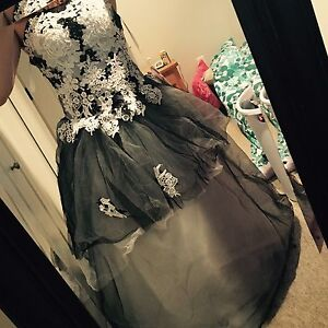 Black and white ballgown style dress