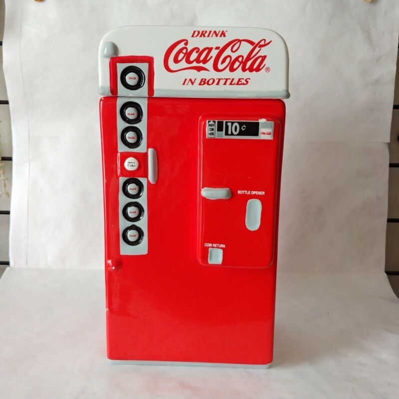 """Coca Cola Ceramic Coke Machine COOKIE JAR RED By Gibson Large 11.5 x 6"""""""